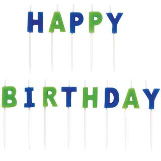 【WILTON】ケーキ用キャンドル ブルー+グリーン HAPPY BIRTHDAY お誕生日会のパーティーグッズ