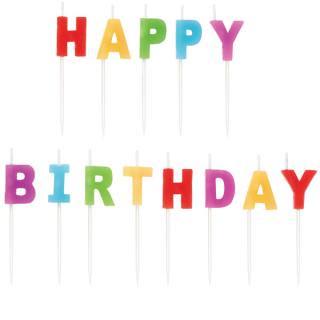 【WILTON】ケーキ用キャンドル レインボー  HAPPY BIRTHDAY お誕生日会のパーティーグッズ