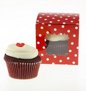【SAMBELLINA】【カップケーキボックス】赤 ドット柄  6個入り CUPCAKEラッピング マフィン ボックス ギフト バレンタインの製菓に (SMCB004)