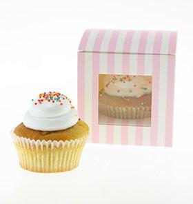 【SAMBELLINA】【カップケーキボックス】ピンク ストライプ  6個入り CUPCAKEラッピング マフィン ボックス ギフト バレンタインの製菓に (SMCB008)