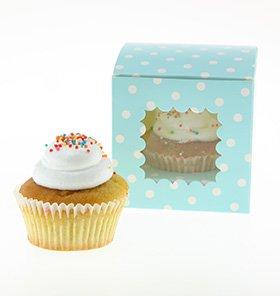 【SAMBELLINA】【カップケーキボックス】ブルー ドット  6個入り CUPCAKEラッピング マフィン ボックス ギフト バレンタインの製菓に (SMCB002)