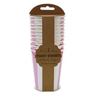 【Meri Meri】ペーパーカップ Toot Sweet Pink ピンク 12枚入り ストライプ (45-0860)