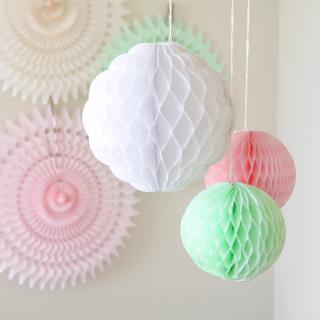 ハニカムボール スプリングカラー 3個セット パーティー飾り付けに ホワイトxミントグリーンxピンク【メール便配送可】