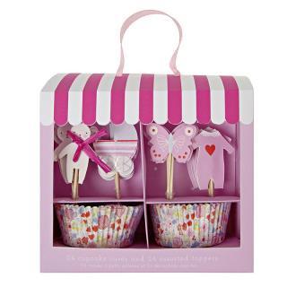 【Meri Meri】カップケーキ キット ベビーシャワー ピンク【Baby Shop Pink】トッパー付ベーキングカップセット  (45-1309)