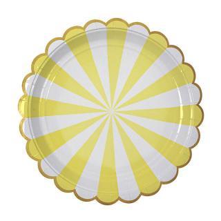 【Meri Meri メリメリ】ペーパープレート Toot Sweet Scallop Yellow  ストライプ イエロー ラージ 8枚入り (45-1223)