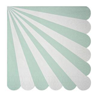 【Meri Meri】ペーパーナプキン アクア【Toot Sweet Aqua Large】ストライプ パーティー用紙ナプキン (45-1315)