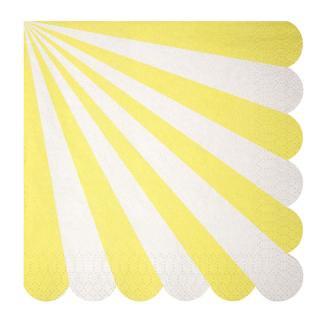 【Meri Meri】ペーパーナプキン イエロー【Toot Sweet Yellow Large】ストライプ パーティー用紙ナプキン (45-1316)