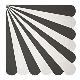 【Meri Meri】ペーパーナプキン ブラック【Toot Sweet Orange Black】ストライプ パーティー用紙ナプキン (45-1312)