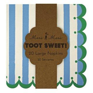 【Meri Meri メリメリ】 ペーパーナプキン ブルー Toot Sweet 【メール便発送可】 (45-0836)