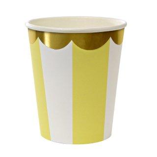 【Meri Meri メリメリ】 イエロー ストライプ ペーパーカップ【Yellow scallop  paper cup】 (45-1320)