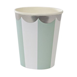 【Meri Meri メリメリ】 アクア ストライプ ペーパーカップ【Aqua scallop  paper cup】(45-1229)