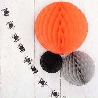 ハニカムボール ハロウィン/グレー 3個セット パーティー飾り付けに オレンジ・グレー・ブラック 【メール便配送可】halloween