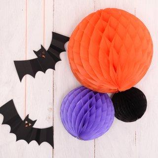 ハニカムボール ハロウィン/パープル 3個セット パーティー飾り付けに オレンジ・パープル・ブラック 【メール便配送可】halloween