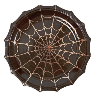 【Meri Meri メリメリ】ハロウィン クモの巣 ペーパープレート ラージ Lサイズ (蜘蛛・スパイダーウェブ)  (45-1949)