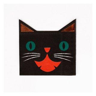 【Meri Meri メリメリ】ハロウィン クロネコ ペーパーナプキン 【黒猫・ブラックキャット】 (45-1837)
