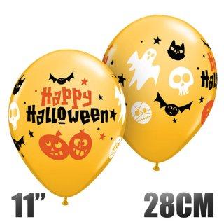 【ハロウィン 風船】ハロウィン アイコン 11インチ28CM オレンジ ゴースト・バット・ドクロ イラスト