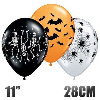 【ハロウィン 風船】6枚パック スポーキーアソート 11インチ28CM クリア&オレンジ&ブラック (ゴム風船 蜘蛛の巣 骸骨)