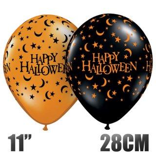 【ハロウィン 風船】6枚パック ハロウィンムーン&スターアラウンド 11インチ28CM オレンジ&ブラック