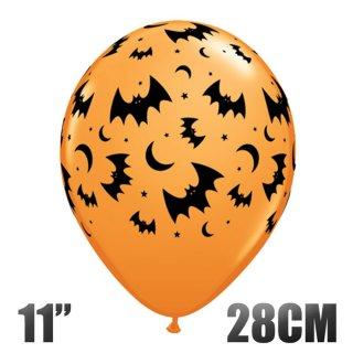 【ハロウィン 風船】ハロウィン フライングバット  11インチ28CM オレンジ コウモリ柄