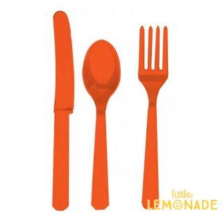 【amscan】カトラリー カトラリーセット オレンジ オレンジピール プラスチック製 ナイフ フォーク スプーン 24本入り 使い捨て【ホームパーティー テーブルコーディネートに】