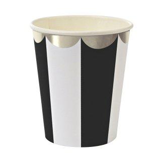 【Meri Meri メリメリ】 ブラック ストライプ ペーパーカップ【Black scallop  paper cup】(45-1322)