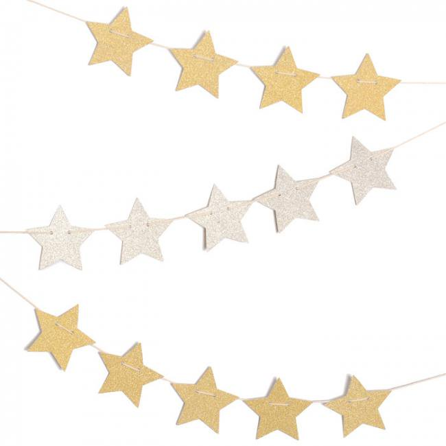 グリッタースターガーランド ゴールド&シルバー リバーシブル 星型ガーランド 【パーティーデコレーショングッズ】