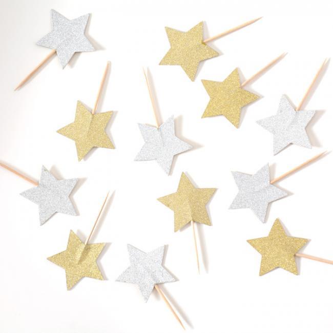 グリッタースター ピック ゴールド&シルバー リバーシブル 12本入り パーティーピック【星形 ピック パーティー カップケーキ デコレーション】