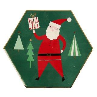 【Meri Meri】クリスマス ペーパープレート ラージ サンタクロース 8枚入り パーティー用 紙皿 christmas party (45-1845)