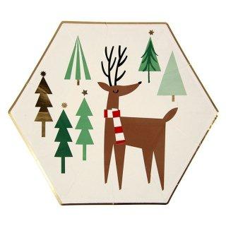 【Meri Meri】クリスマス ペーパープレート スモール トナカイ 8枚入り パーティー用紙皿 christmas party サンタ ツリー (45-1844)