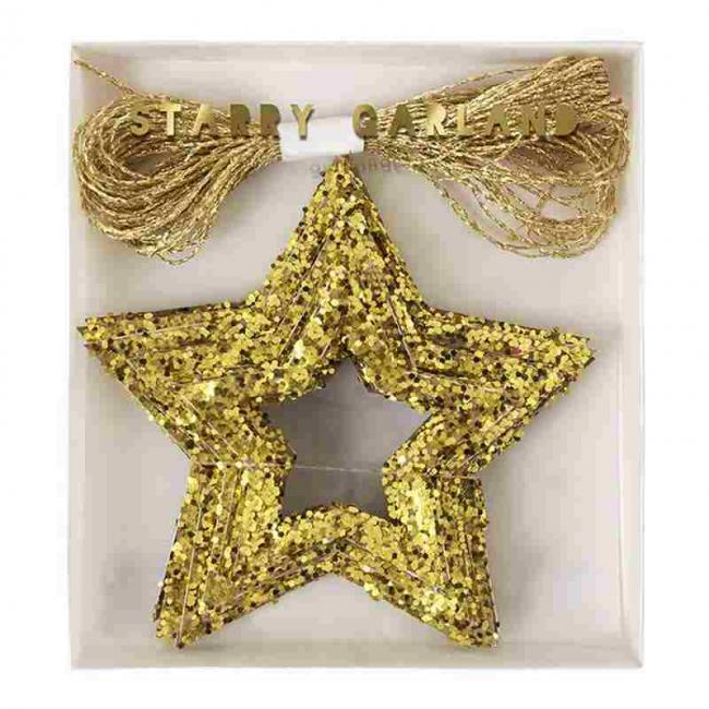 【meri meri メリメリ】 ゴールドスターリー ガーランド クリスマス インテリア 飾り スターガーランド 星 star  christmas party (45-1920)