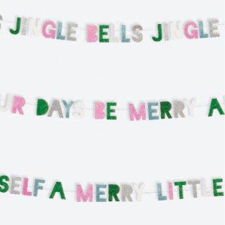 【Meri Meri】MERRY&BRIGHT クリスマスカラフルグリッター ミニバナー メッセージ レターバナー ガーランド飾り  (45-1961)
