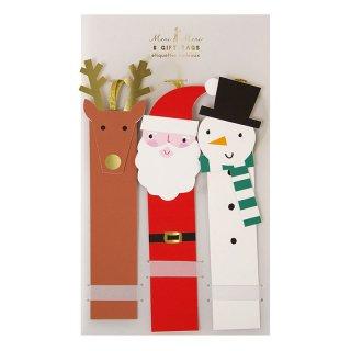 【Meri Meri】ギフトタグ トナカイ サンタ  スノーマン  クリスマス プレゼント 雑貨 christmas party  ホームパーティ(65-0174) ◆SALE
