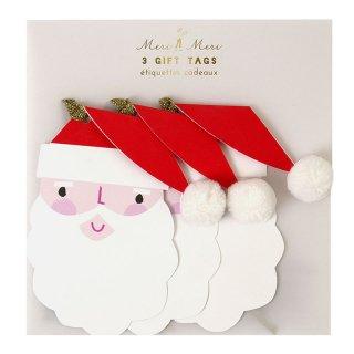 【Meri Meri】サンタ サンタクロース ギフトタグ 3つ入り ポンポン クリスマス プレゼント 雑貨 christmas party  ホームパーティ(65-0168)