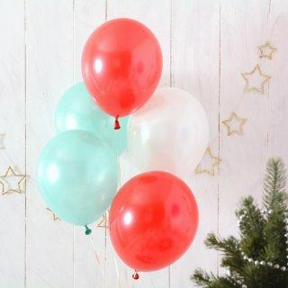 【風船 5枚パック】 クリスマスアソート 11インチ28CM 無地 レッド/ミントグリーン/ホワイト【ゴム風船 バルーン パーティー デコレーション】【christmas party balloon】
