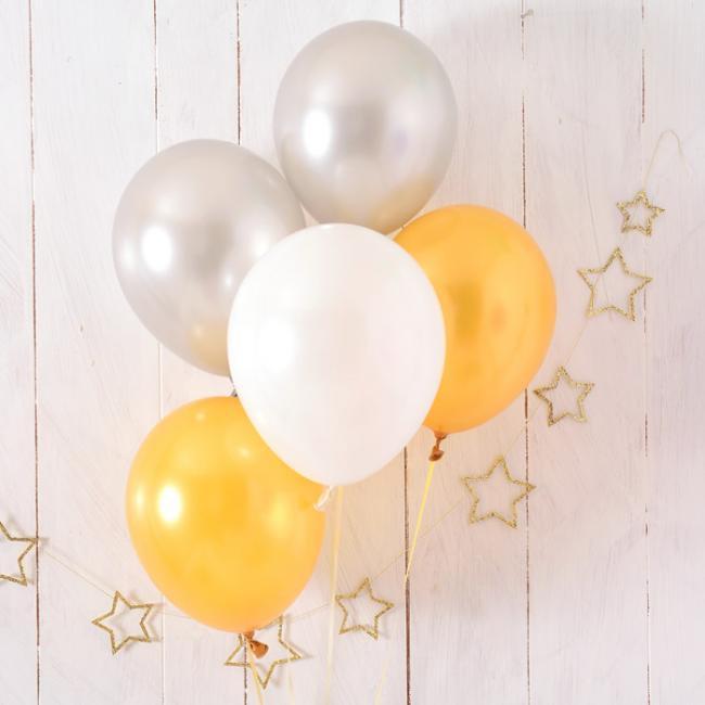 【風船 5枚パック】 メタリックアソート 11インチ28CM 無地 ゴールド/シルバー/ホワイト クリスマス【ゴム風船 バルーン デコレーション】【christmas party balloon】