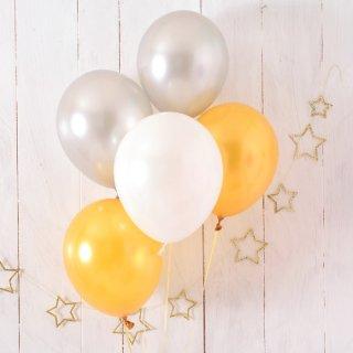【ゴム風船 5枚パック】 メタリックアソート 11インチ28CM 無地 ゴールド/シルバー/ホワイト クリスマス【ゴム風船 バルーン デコレーション】【christmas party balloon】