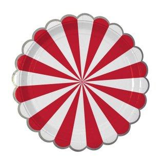 【Meri Meri】クリスマス レッド ストライプ ペーパープレート 8枚入り パーティー用紙皿 christmas party  ホームパーティ テーブルコーディネート(45-1405)