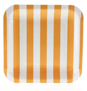【SAMBELLINA サンベリーナ】 ペーパープレート スクエア型 12枚入 オレンジ ストライプ