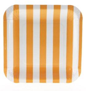 【SAMBELLINA サンベリーナ】ペーパープレート スクエア型 12枚入 オレンジ ストライプ