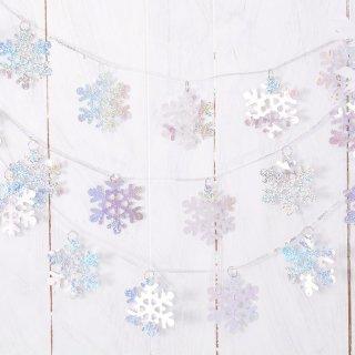 【amscan アムスキャン】スパンコールリングスノーフレーク ガーランド(PG220219)【雪の結晶 飾り付け クリスマス ウィンター シーズン】