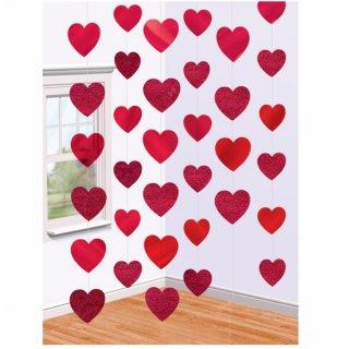 【amscan アムスキャン】レッドハート ストリング ハンギングデコレーション バレンタイン ディスプレイ ハートガーランド valentaine 装飾 店舗ディスプレイ