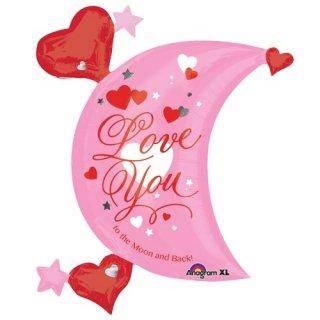 LOVE YOU ピンクバレンタインムーン+ハート フィルムバルーン【ガス無し 風船 装飾 店内ポップ ディスプレイ 撮影】HAPPY VALENTINES'S DAY バレンタインデー