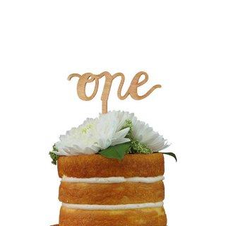 【Alexis Mattox Design】ケーキトッパー ONE 木製【ケーキ用飾り】cake topper ハッピーバースデイ ファーストバースデイ 1歳誕生日 ケーキデコレーション (SCR1)
