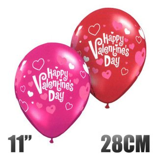バレンタイン バルーン ゴム風船  6枚パック ピンク&レッド HAPPY VALENTINE'S DAY 11インチ28CM ハートイラスト入り
