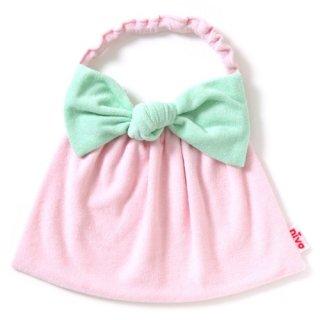 nivaのおでかけスタイ☆Big Ribbon(ビッグリボン)/グリーン×ピンク おしゃれスタイ よだれかけ ピブ リボン コットン 赤ちゃん 出産祝い お祝い ベビー(88)