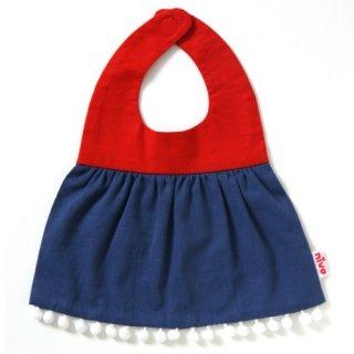 nivaのおでかけスタイ☆bicolor with pom-poms(ポンポン)/レッド×ブルー おしゃれスタイ よだれかけ 男の子 女の子 赤ちゃん 出産祝い お祝い ベビー(89)