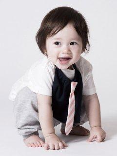 【niva】nivaのおでかけスタイ☆necktie ネクタイ/ ネイビー×コーラル おしゃれスタイ よだれかけ ビブ 男の子 女の子 赤ちゃん 出産祝い お祝い ベビー BOYS(140)