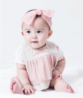 【niva】 おでかけスタイ☆Tull lace derss/ピンク おしゃれスタイ よだれかけ ビブ女の子 コットン 赤ちゃん 出産祝い お祝い ベビー(139)
