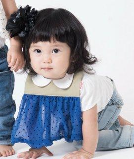 【niva】nivaのおでかけスタイ☆Tiny dot chiffon/ブルー おしゃれスタイ よだれかけ ヒブ 男の子 女の子 コットン 赤ちゃん 出産祝い お祝い ベビー(160)YKZ