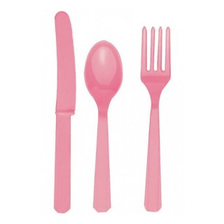 【amscan】カトラリー カトラリーセット ピンク  プラスチック製 ナイフ フォーク スプーン 24本入り 使い捨て【ホームパーティー テーブルコーディネートに】(PG4546.26)